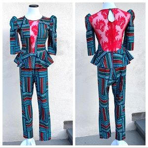Trish O Couture African print JUMPSUIT Ankara S
